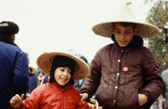 Andrea's sons, Caleb Sayan and Shad Todd, China 1983