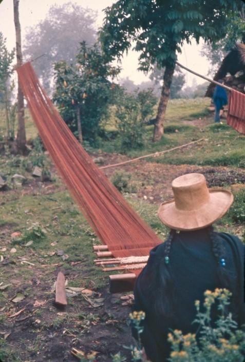 Start of a walnut-dyed wool poncho, Ancash, 1974