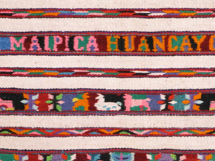 Detail of woolen tapestry manta, Huancayo, Peru 1966 (TM014)
