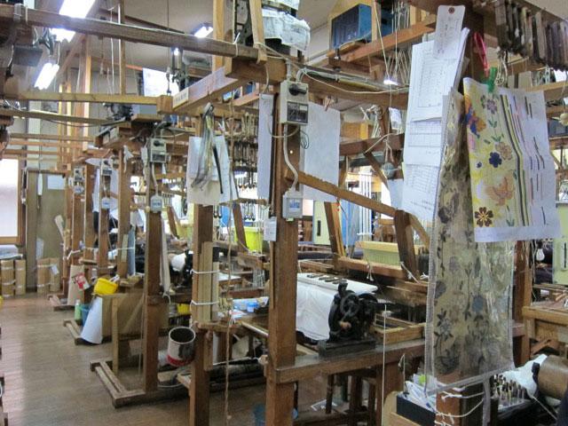 Shop floor of Nishijin Weavers Co-op, Kyoto, 2012