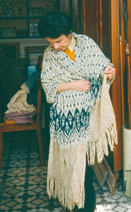 Cotton indigo and white ikat shawl, Cajamarca, 1930s